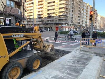 La Paeria executa les obres de construcció del carril bici a l'avinguda Doctor Fleming