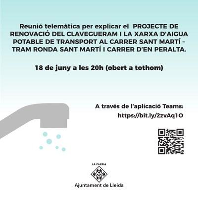 La Paeria explica als veïns i veïnes el projecte del clavegueram i la xarxa d'aigua potable al carrer Sant Martí – Tram Ronda Sant Martí i carrer d'en Peralta