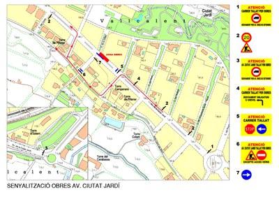 Restriccions de trànsit a l'avinguda Ciutat Jardí per reparar l'enfonsament del paviment de llamborda