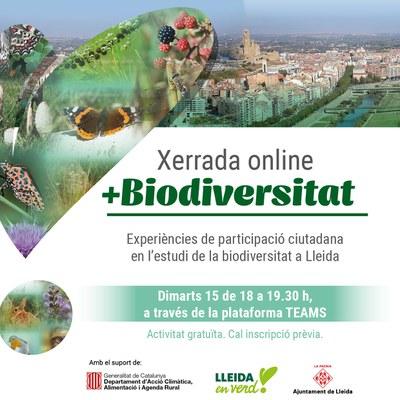Imatge del event Xerrada online +Biodiversitat. Experiències de participació ciutadana en l'estudi de la biodiversitat a Lleida.
