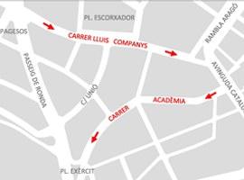 L'Ajuntament de Lleida implementa a partir de dimecres els sentits únics de circulació al Carrer Lluís Companys i Acadèmia amb l'objectiu de millorar la mobilitat al barri