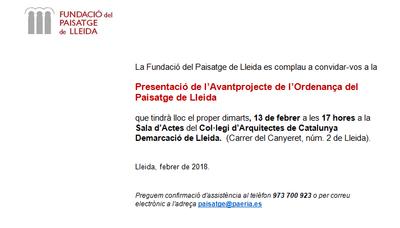 Presentació de l'Avantprojecte de l'Ordenança del Paisatge de Lleida