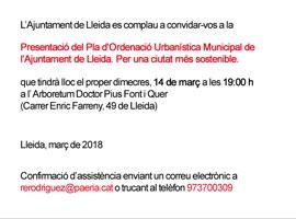 Imatge del event Presentació del Pla d'Ordenació Urbanística Municipal de l'Ajuntament de Lleida. Per una ciutat més sostenible.